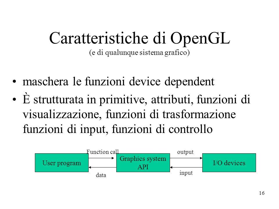 16 Caratteristiche di OpenGL (e di qualunque sistema grafico) maschera le funzioni device dependent È strutturata in primitive, attributi, funzioni di visualizzazione, funzioni di trasformazione funzioni di input, funzioni di controllo User program Graphics system API I/O devices Function calloutput input data