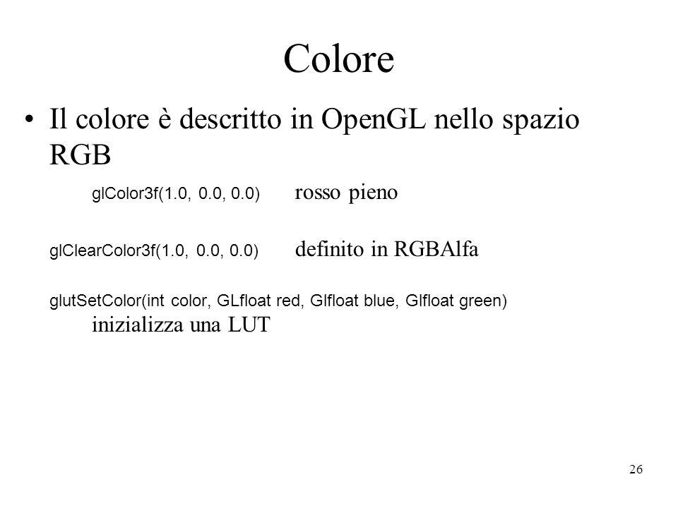 26 Colore Il colore è descritto in OpenGL nello spazio RGB glColor3f(1.0, 0.0, 0.0) rosso pieno glClearColor3f(1.0, 0.0, 0.0) definito in RGBAlfa glut