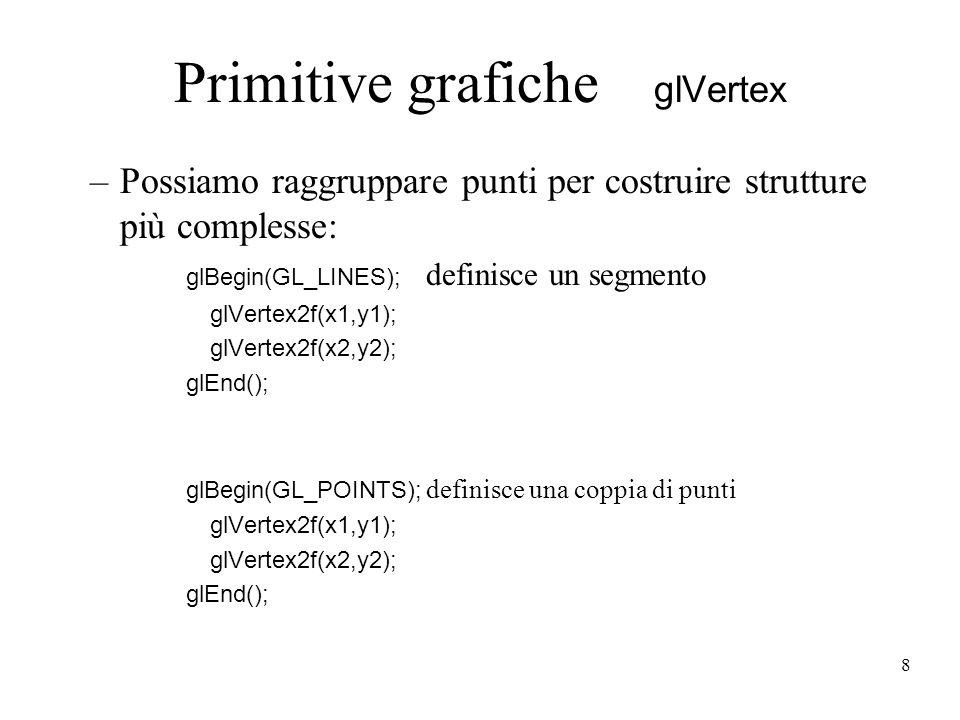 8 Primitive grafiche glVertex –Possiamo raggruppare punti per costruire strutture più complesse: glBegin(GL_LINES); definisce un segmento glVertex2f(x1,y1); glVertex2f(x2,y2); glEnd(); glBegin(GL_POINTS); definisce una coppia di punti glVertex2f(x1,y1); glVertex2f(x2,y2); glEnd();