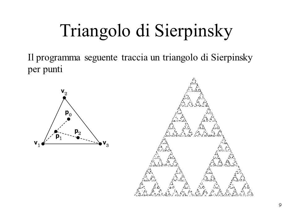9 Triangolo di Sierpinsky Il programma seguente traccia un triangolo di Sierpinsky per punti