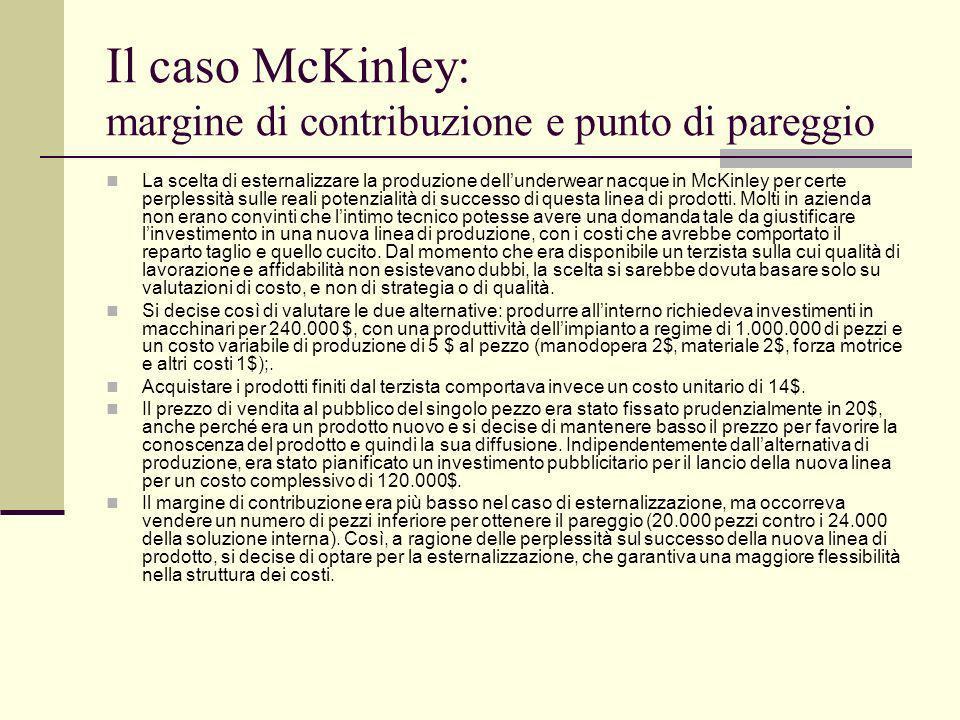 Il caso McKinley: margine di contribuzione e punto di pareggio La scelta di esternalizzare la produzione dellunderwear nacque in McKinley per certe pe