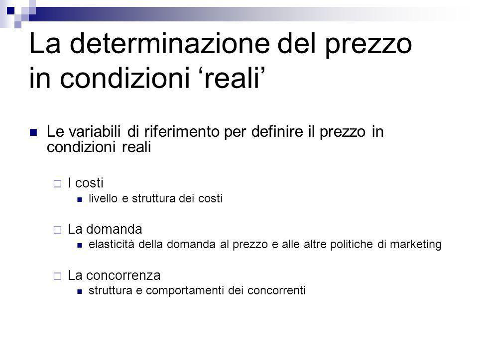 La determinazione del prezzo in condizioni reali Le variabili di riferimento per definire il prezzo in condizioni reali I costi livello e struttura de