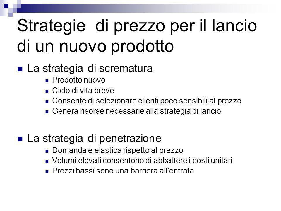 Strategie di prezzo per il lancio di un nuovo prodotto La strategia di scrematura Prodotto nuovo Ciclo di vita breve Consente di selezionare clienti p