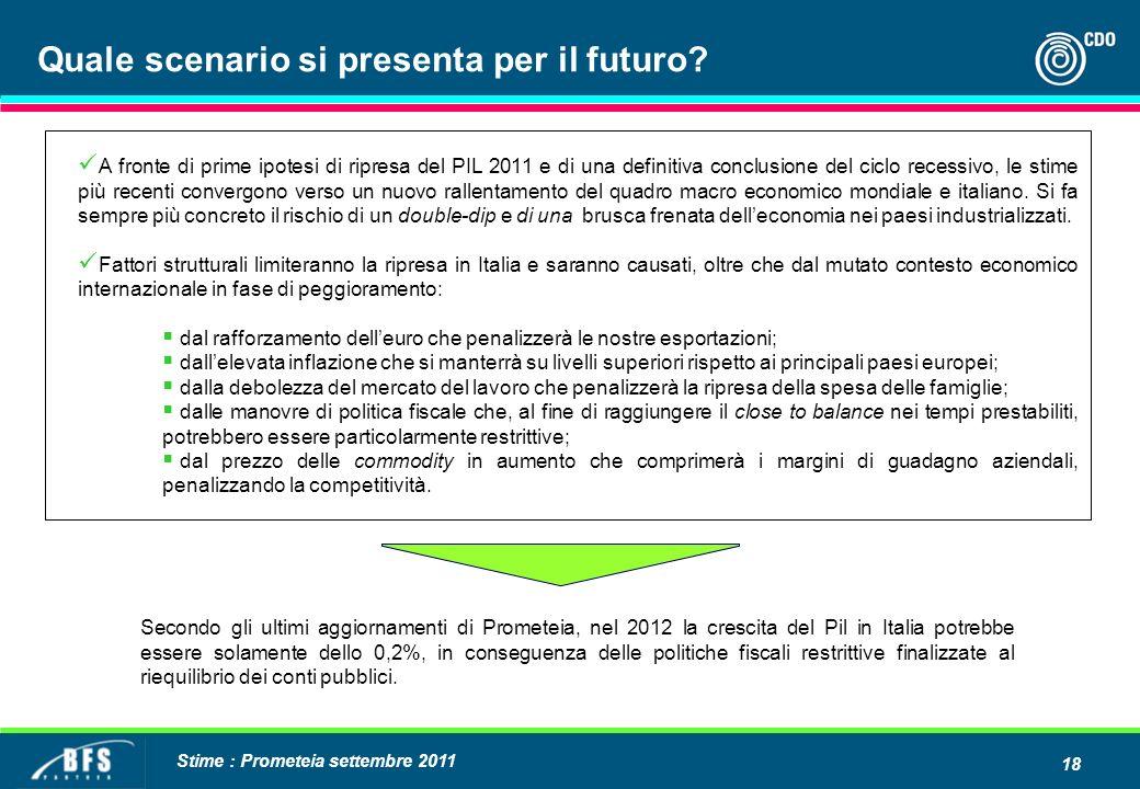18 A fronte di prime ipotesi di ripresa del PIL 2011 e di una definitiva conclusione del ciclo recessivo, le stime più recenti convergono verso un nuovo rallentamento del quadro macro economico mondiale e italiano.