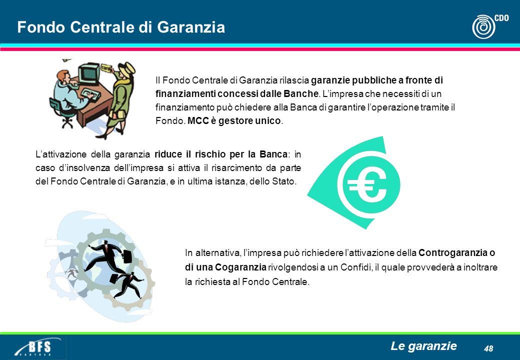 48 Fondo Centrale di Garanzia Il Fondo Centrale di Garanzia rilascia garanzie pubbliche a fronte di finanziamenti concessi dalle Banche. Limpresa che