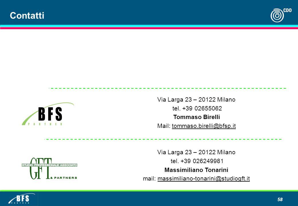 58 Contatti Via Larga 23 – 20122 Milano tel. +39 02655062 Tommaso Birelli Mail: tommaso.birelli@bfsp.ittommaso.birelli@bfsp.it Via Larga 23 – 20122 Mi