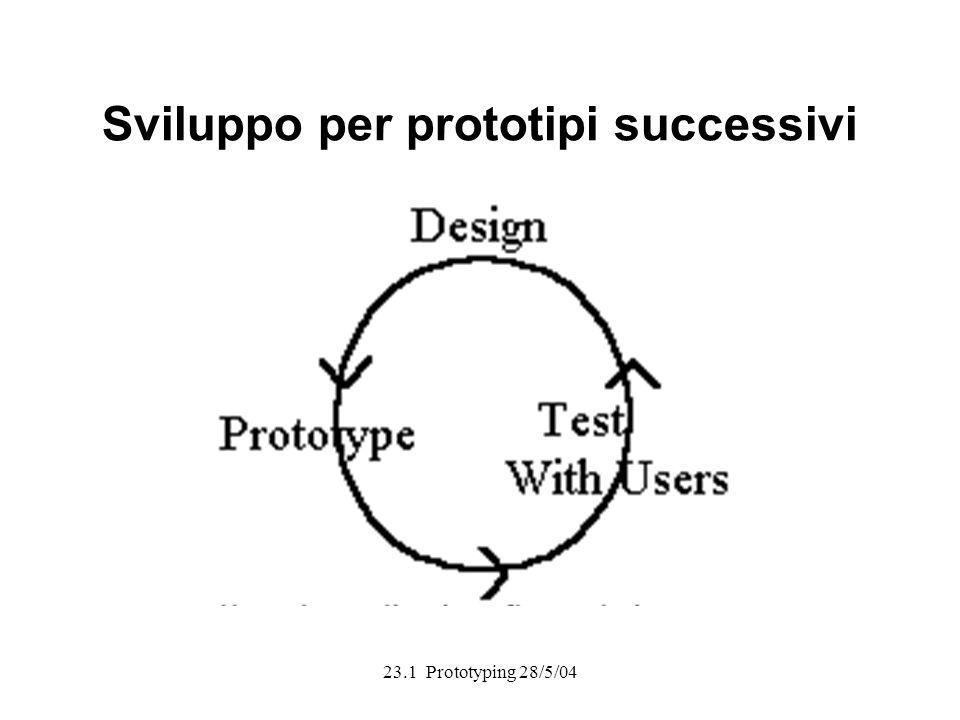 23.1 Prototyping 28/5/04 Sviluppo per prototipi successivi