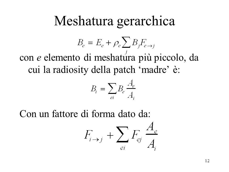 12 Meshatura gerarchica con e elemento di meshatura più piccolo, da cui la radiosity della patch madre è: Con un fattore di forma dato da: