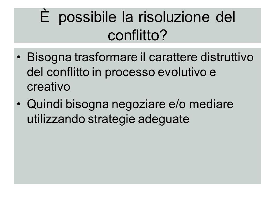 È possibile la risoluzione del conflitto? Bisogna trasformare il carattere distruttivo del conflitto in processo evolutivo e creativo Quindi bisogna n