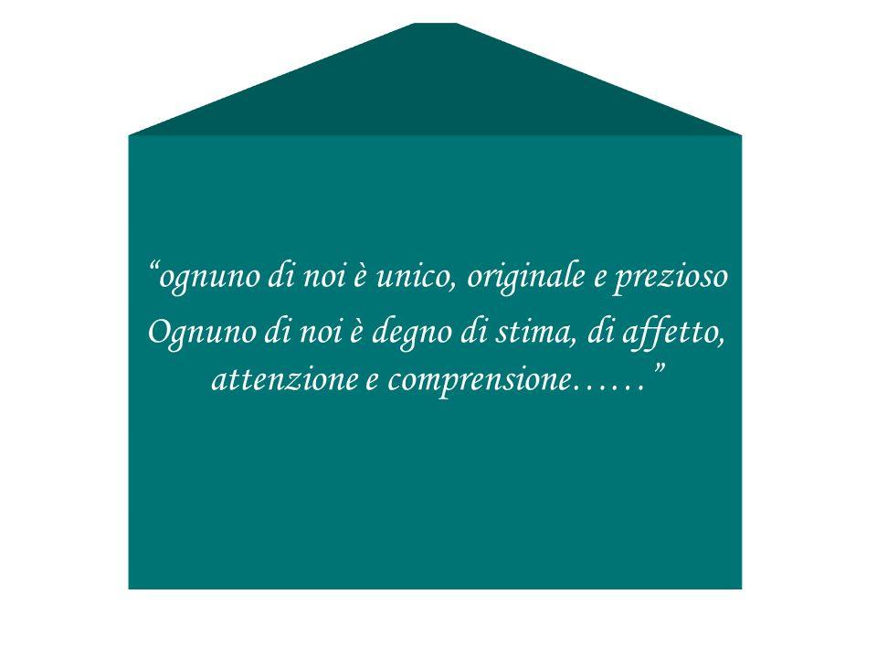 ognuno di noi è unico, originale e prezioso Ognuno di noi è degno di stima, di affetto, attenzione e comprensione……