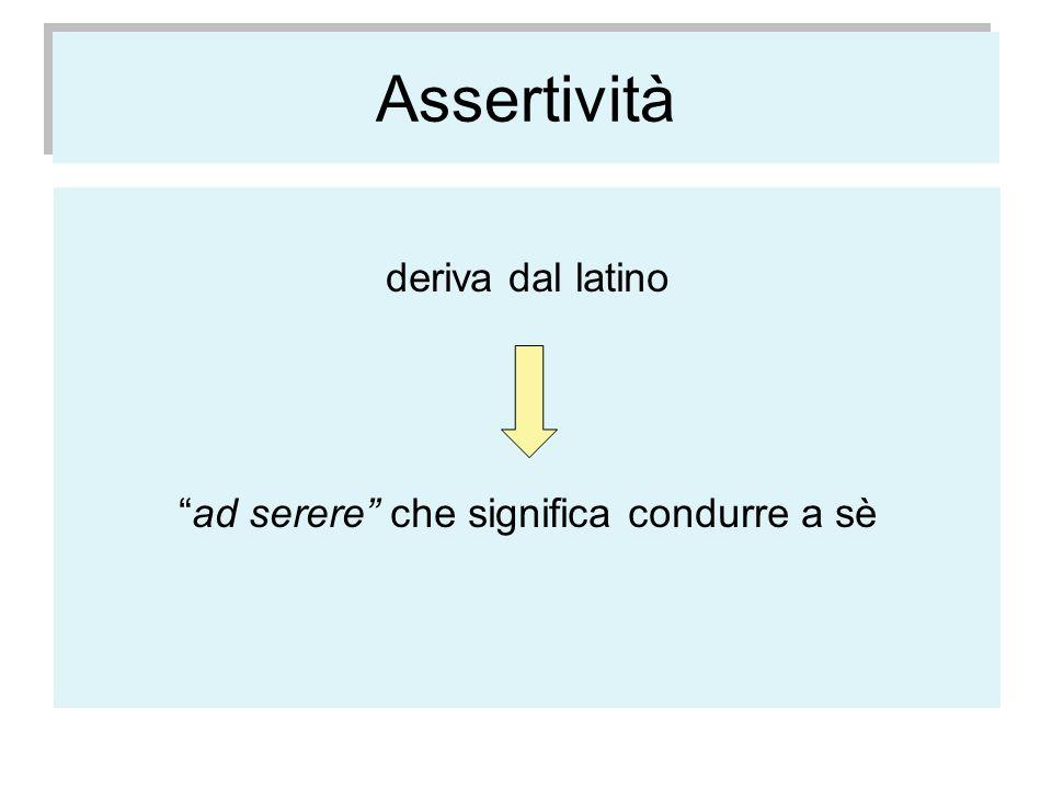 Assertività deriva dal latino ad serere che significa condurre a sè