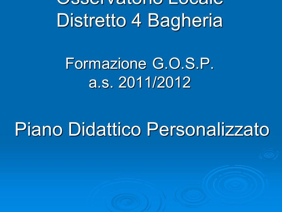 Osservatorio Locale Distretto 4 Bagheria Formazione G.O.S.P.