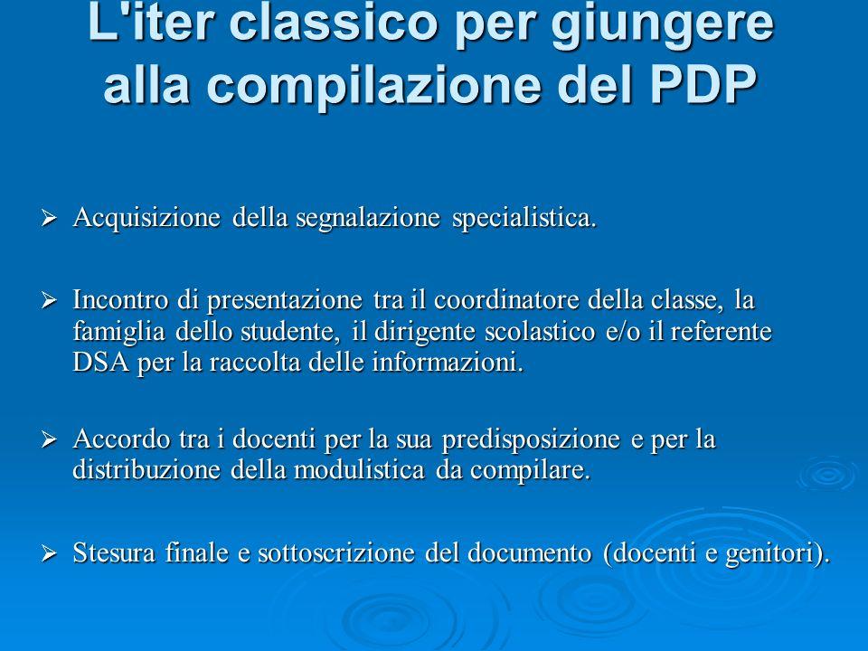 L iter classico per giungere alla compilazione del PDP Acquisizione della segnalazione specialistica.