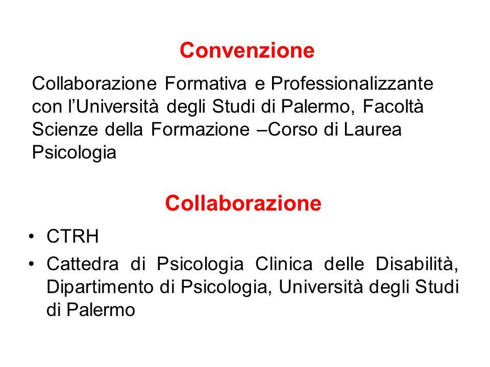 Convenzione Collaborazione Formativa e Professionalizzante con lUniversità degli Studi di Palermo, Facoltà Scienze della Formazione –Corso di Laurea P