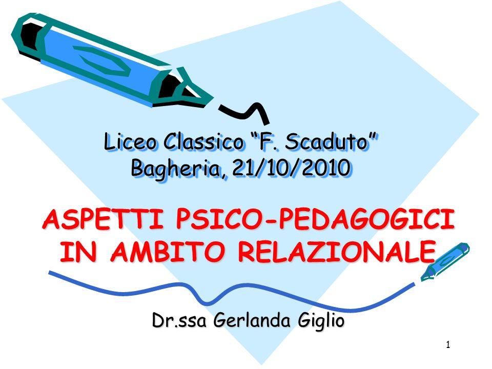 1 Liceo Classico F. Scaduto Bagheria, 21/10/2010 ASPETTI PSICO-PEDAGOGICI IN AMBITO RELAZIONALE Dr.ssa Gerlanda Giglio