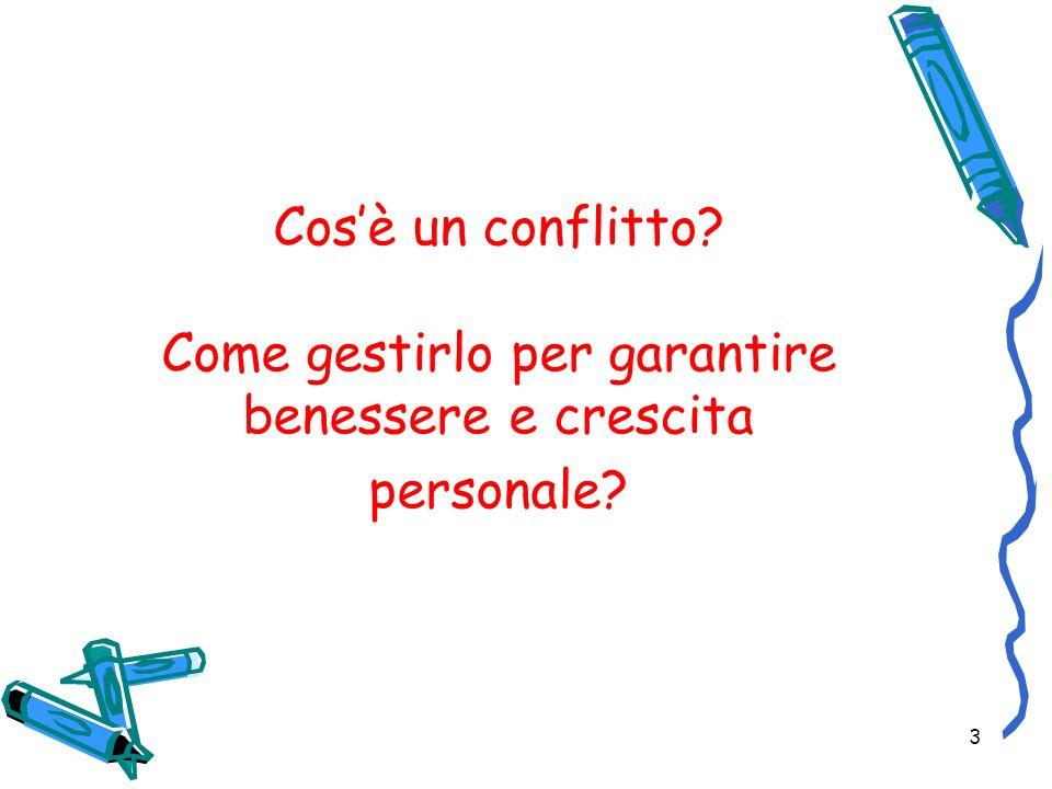 3 Cosè un conflitto? Come gestirlo per garantire benessere e crescita personale?