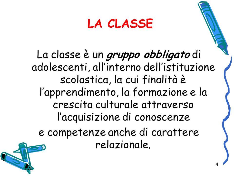 4 LA CLASSE La classe è un gruppo obbligato di adolescenti, allinterno dellistituzione scolastica, la cui finalità è lapprendimento, la formazione e l