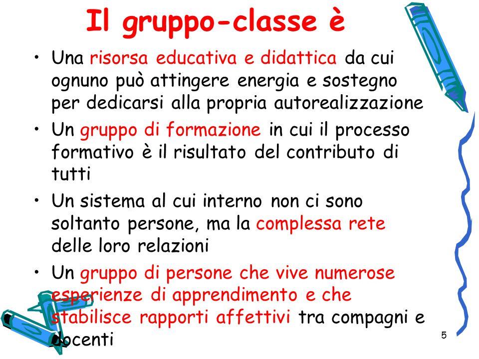 5 Il gruppo-classe è Una risorsa educativa e didattica da cui ognuno può attingere energia e sostegno per dedicarsi alla propria autorealizzazione Un