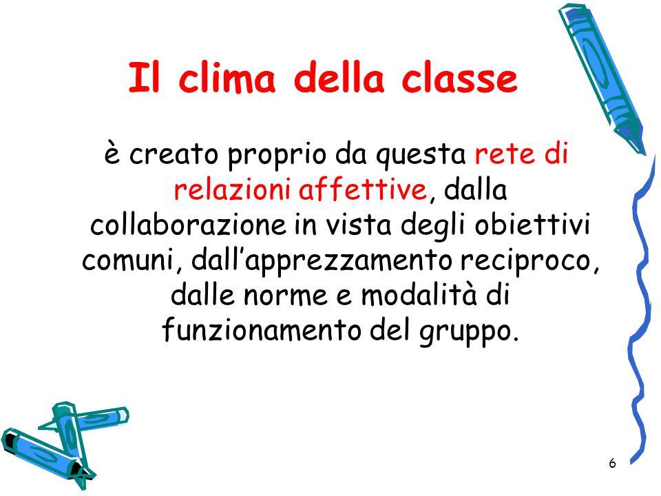 6 Il clima della classe è creato proprio da questa rete di relazioni affettive, dalla collaborazione in vista degli obiettivi comuni, dallapprezzament