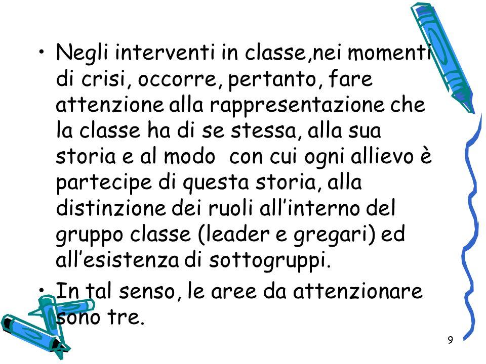 9 Negli interventi in classe,nei momenti di crisi, occorre, pertanto, fare attenzione alla rappresentazione che la classe ha di se stessa, alla sua st