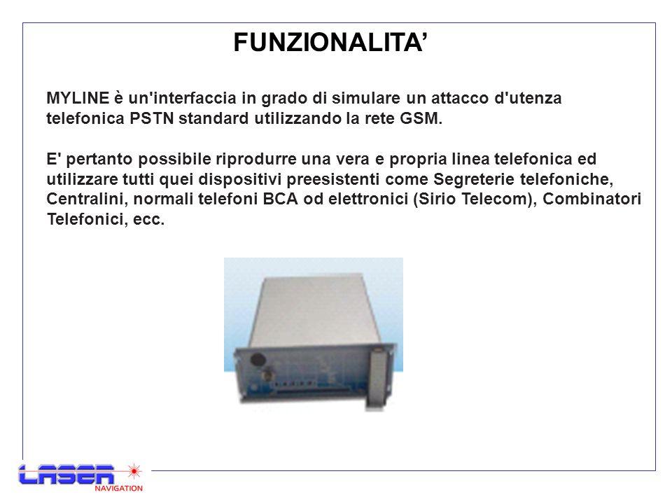 FUNZIONALITA Nel cuore di MYLINE è incluso un microprocessore atto a riprodurre tutte le segnalazioni generate da una centrale Telecom Italia, oltre ad un modulo GSM integrato che consente la comunicazione.