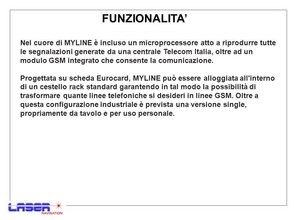 FUNZIONALITA MYLINE è composta da tre distinte sezioni: La prima sezione è abilitata alla trasmissione-ricezione delle conversazioni telefoniche ed è composta da un modulo radio GSM totalmente comparabile ad un vero e proprio telefonino cellulare.