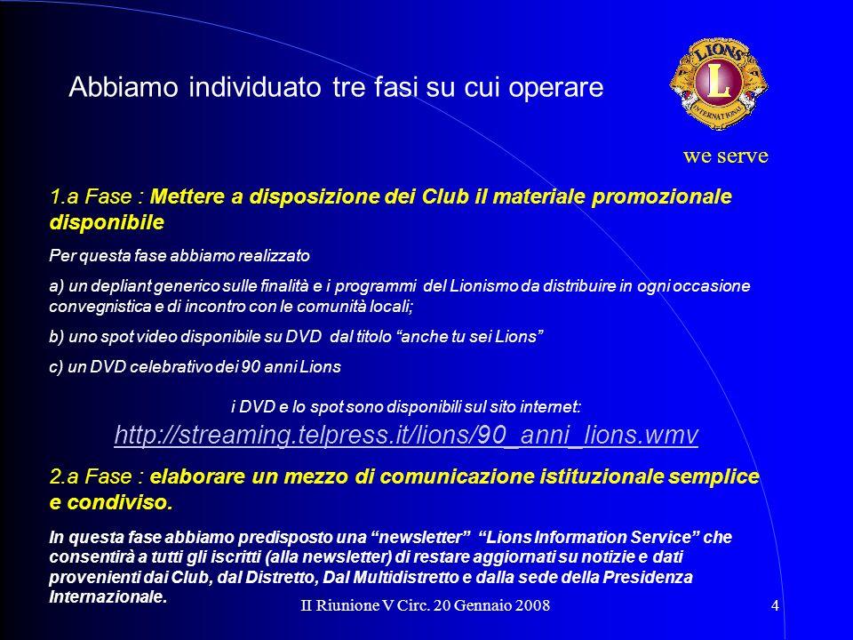 II Riunione V Circ. 20 Gennaio 20084 we serve 1.a Fase : Mettere a disposizione dei Club il materiale promozionale disponibile Per questa fase abbiamo