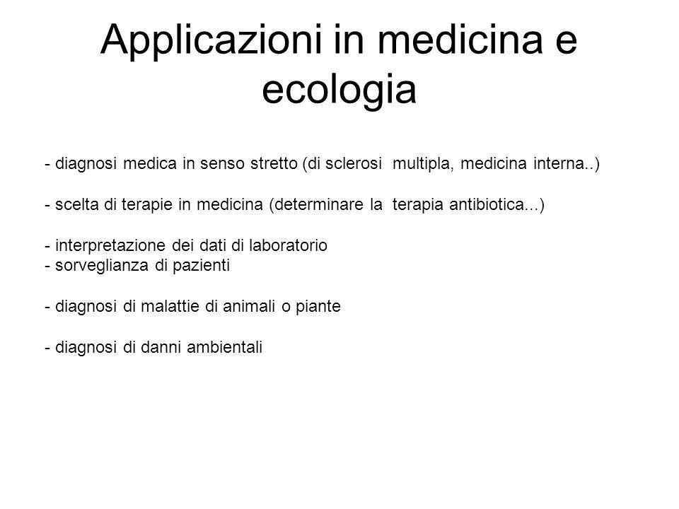 Applicazioni in medicina e ecologia - diagnosi medica in senso stretto (di sclerosi multipla, medicina interna..) - scelta di terapie in medicina (det