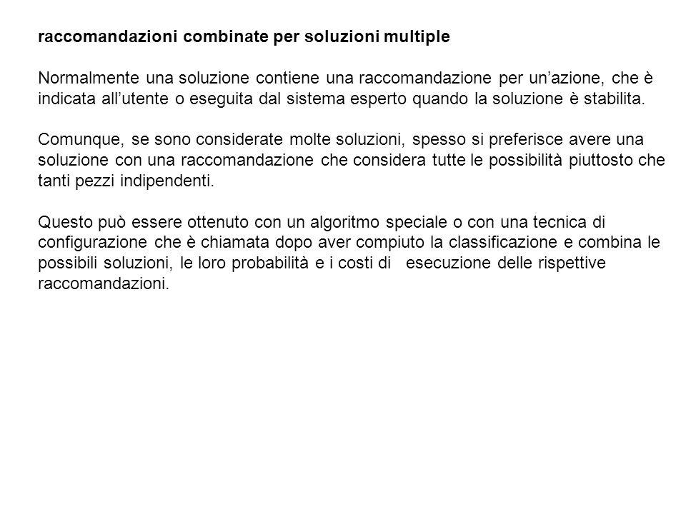 raccomandazioni combinate per soluzioni multiple Normalmente una soluzione contiene una raccomandazione per unazione, che è indicata allutente o esegu
