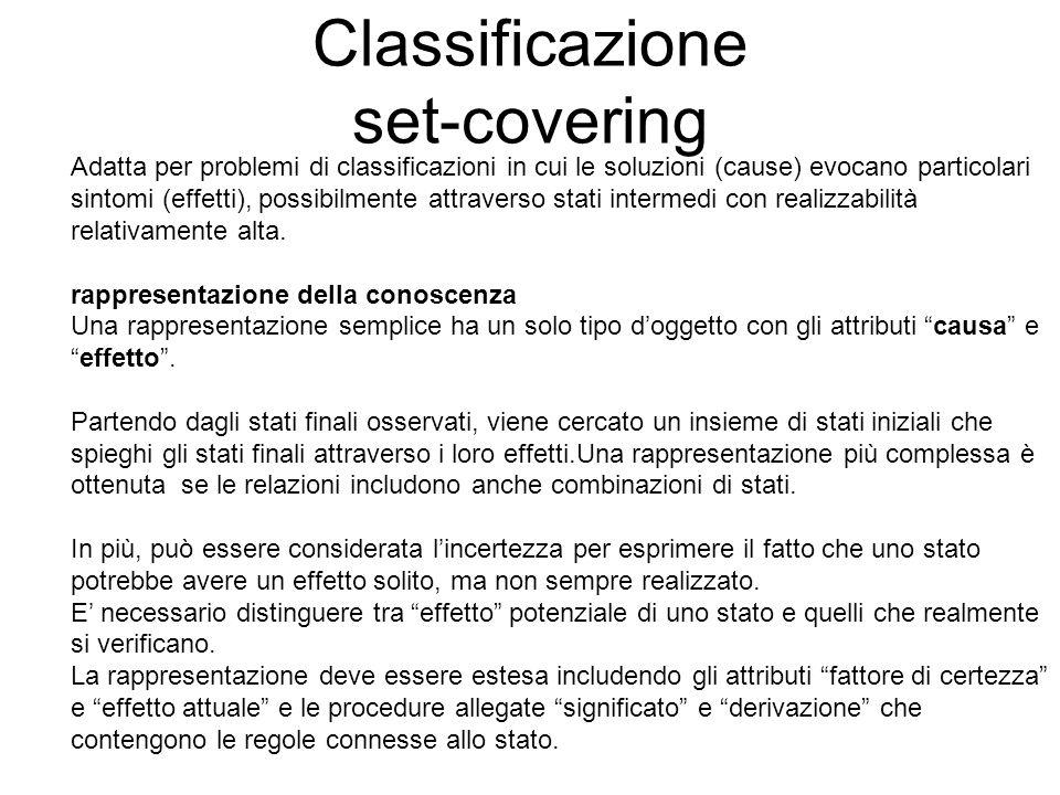 Classificazione set-covering Adatta per problemi di classificazioni in cui le soluzioni (cause) evocano particolari sintomi (effetti), possibilmente a