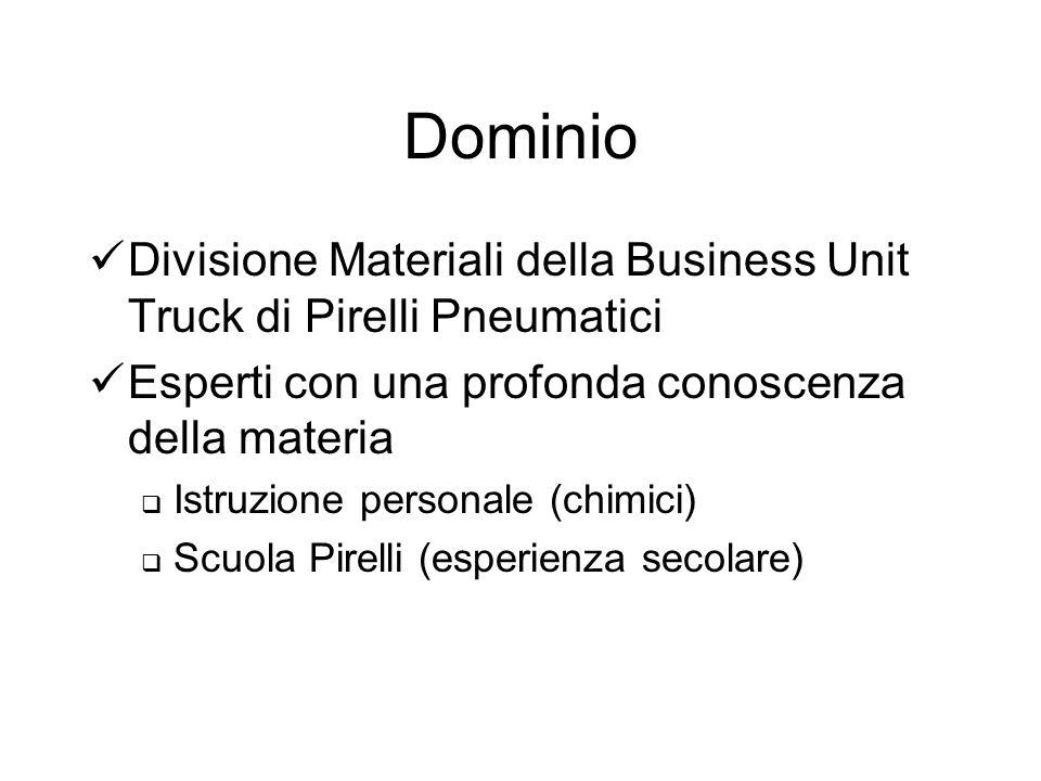 Dominio Divisione Materiali della Business Unit Truck di Pirelli Pneumatici Esperti con una profonda conoscenza della materia Istruzione personale (chimici) Scuola Pirelli (esperienza secolare)