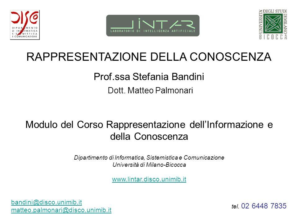 RAPPRESENTAZIONE DELLA CONOSCENZA Prof.ssa Stefania Bandini Modulo del Corso Rappresentazione dellInformazione e della Conoscenza Dipartimento di Info