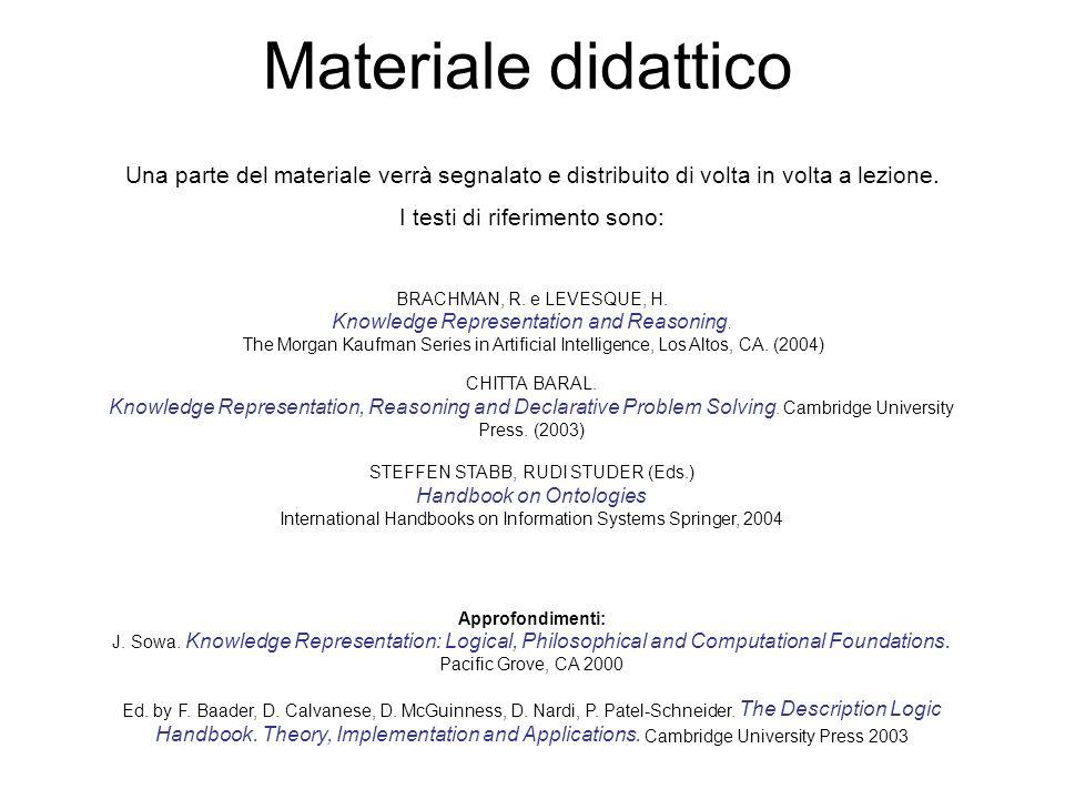 Materiale didattico Una parte del materiale verrà segnalato e distribuito di volta in volta a lezione. I testi di riferimento sono: BRACHMAN, R. e LEV