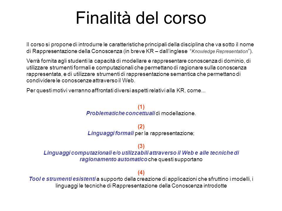 Finalità del corso Il corso si propone di introdurre le caratteristiche principali della disciplina che va sotto il nome di Rappresentazione della Con