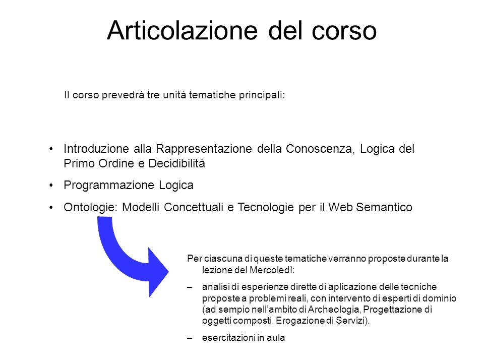 Articolazione del corso Introduzione alla Rappresentazione della Conoscenza, Logica del Primo Ordine e Decidibilità Programmazione Logica Ontologie: M