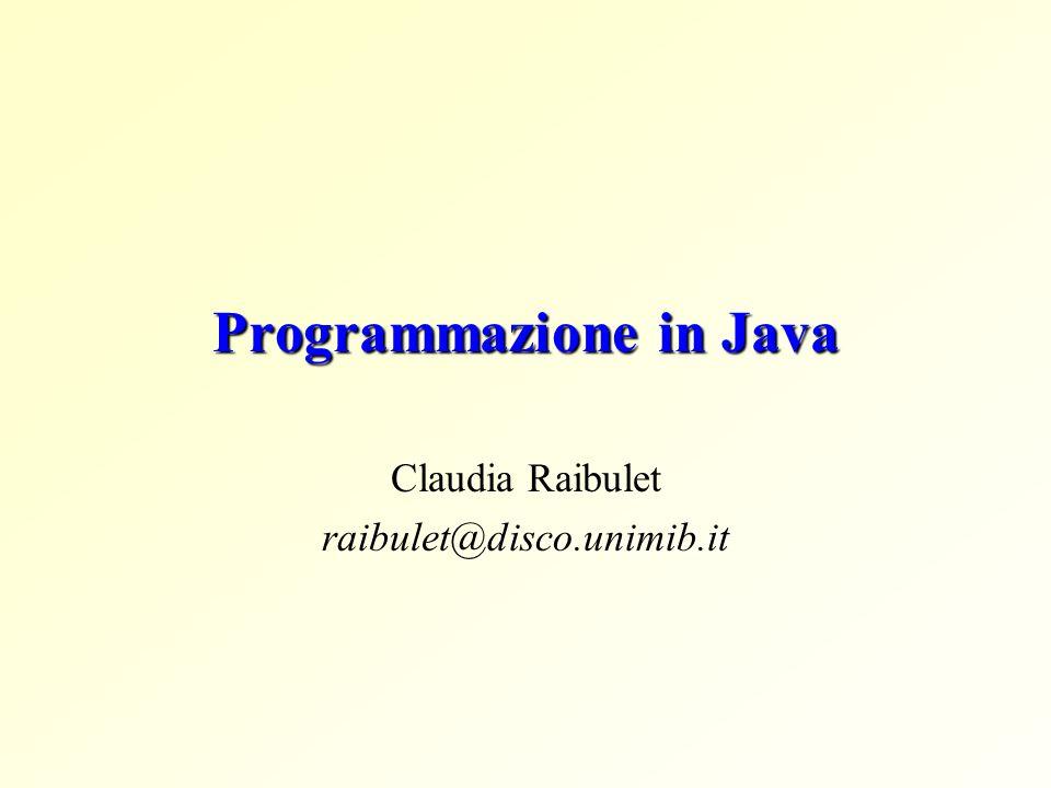 Java Linguaggio di programmazione svuluppato da Sun Microsystems verso la meta degli anni 90 Caratteristiche: Orientato agli oggetti Architettualmente neutro Interpretato … Sito di Java: http://java.sun.com