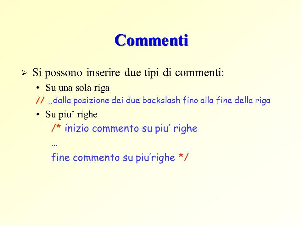 Commenti Si possono inserire due tipi di commenti: Su una sola riga // …dalla posizione dei due backslash fino alla fine della riga Su piu righe /* inizio commento su piu righe … fine commento su piurighe */