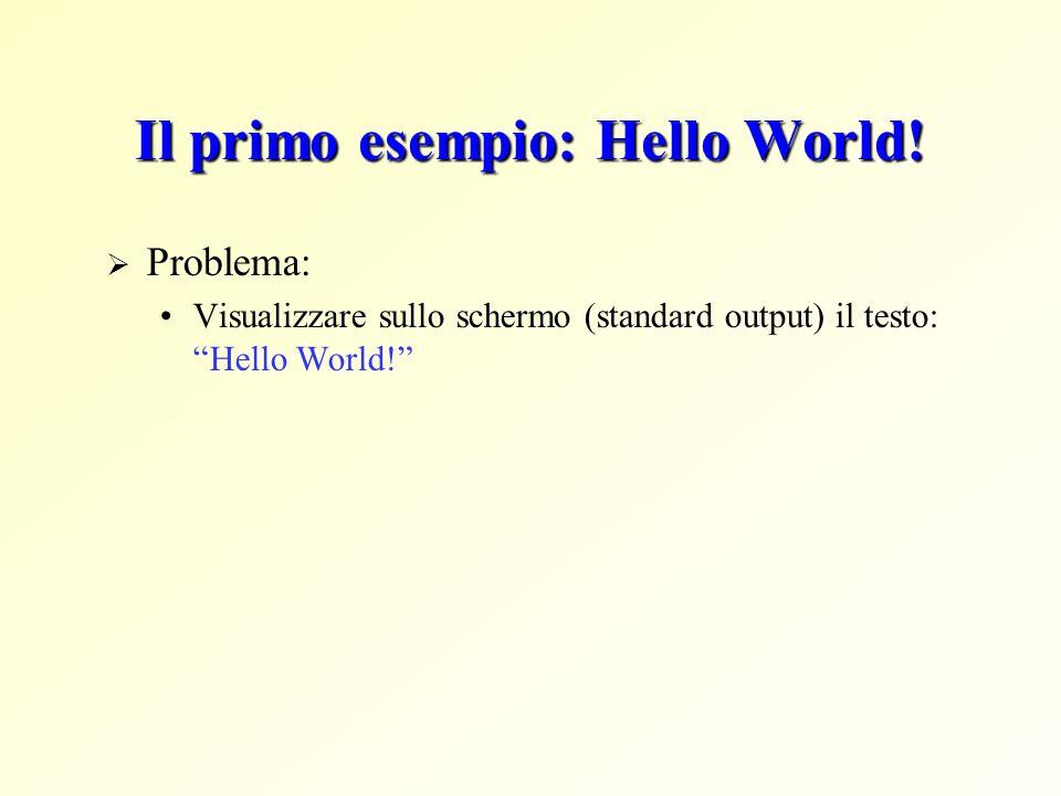 Il primo esempio: Hello World! Problema: Visualizzare sullo schermo (standard output) il testo: Hello World!