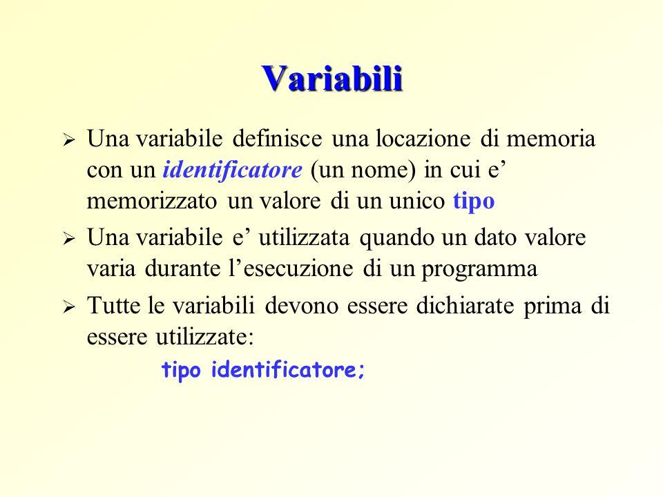 Variabili Una variabile definisce una locazione di memoria con un identificatore (un nome) in cui e memorizzato un valore di un unico tipo Una variabile e utilizzata quando un dato valore varia durante lesecuzione di un programma Tutte le variabili devono essere dichiarate prima di essere utilizzate: tipo identificatore;