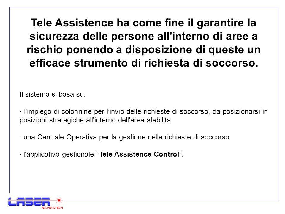 Tele Assistence ha come fine il garantire la sicurezza delle persone all interno di aree a rischio ponendo a disposizione di queste un efficace strumento di richiesta di soccorso.