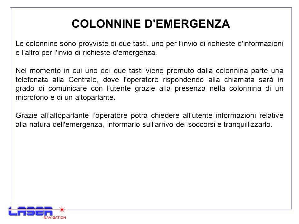 COLONNINE D EMERGENZA Le colonnine sono provviste di due tasti, uno per l invio di richieste d informazioni e l altro per l invio di richieste d emergenza.