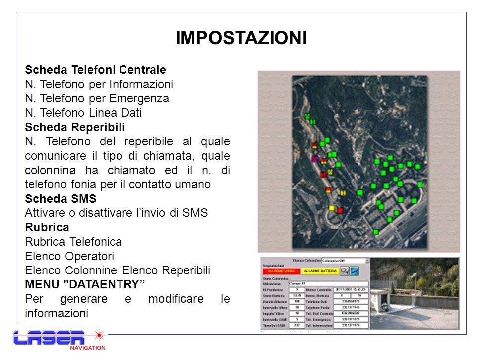 IMPOSTAZIONI Scheda Telefoni Centrale N. Telefono per Informazioni N.