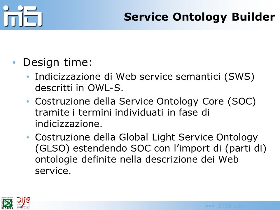 ITIS Lab Service Finder Discovery time: Ricerca dei servizi attraverso query basate su parole chiave.