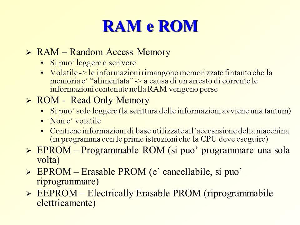 RAM e ROM RAM – Random Access Memory Si puo leggere e scrivere Volatile -> le informazioni rimangono memorizzate fintanto che la memoria e alimentata -> a causa di un arresto di corrente le informazioni contenute nella RAM vengono perse ROM - Read Only Memory Si puo solo leggere (la scrittura delle informazioni avviene una tantum) Non e volatile Contiene informazioni di base utilizzate allaccesnsione della macchina (in programma con le prime istruzioni che la CPU deve eseguire) EPROM – Programmable ROM (si puo programmare una sola volta) EPROM – Erasable PROM (e cancellabile, si puo riprogrammare) EEPROM – Electrically Erasable PROM (riprogrammabile elettricamente)