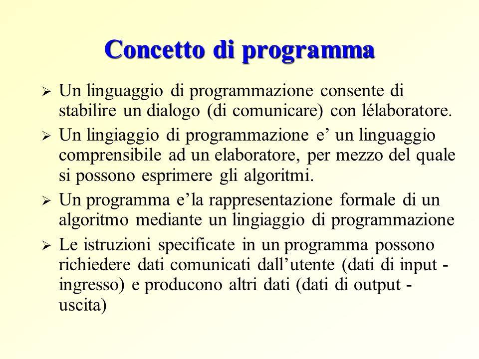 Concetto di programma Un linguaggio di programmazione consente di stabilire un dialogo (di comunicare) con lélaboratore. Un lingiaggio di programmazio