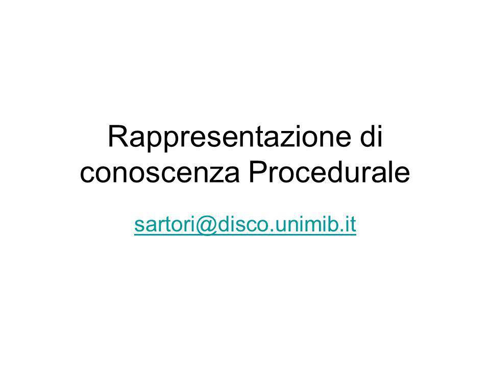 Rappresentazione di conoscenza Procedurale sartori@disco.unimib.it
