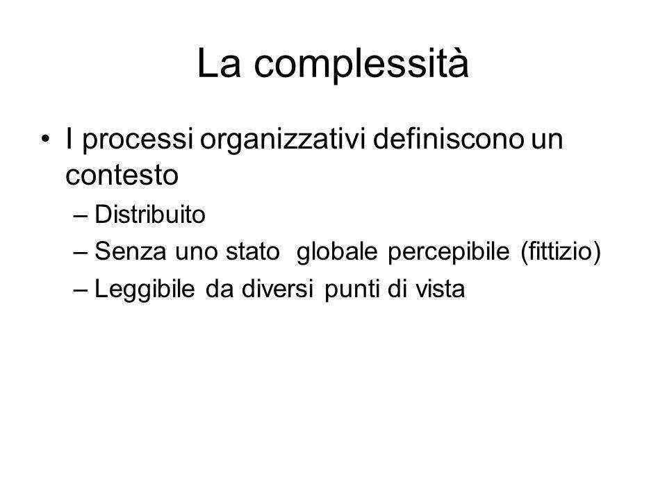 La complessità I processi organizzativi definiscono un contesto –Distribuito –Senza uno stato globale percepibile (fittizio) –Leggibile da diversi pun