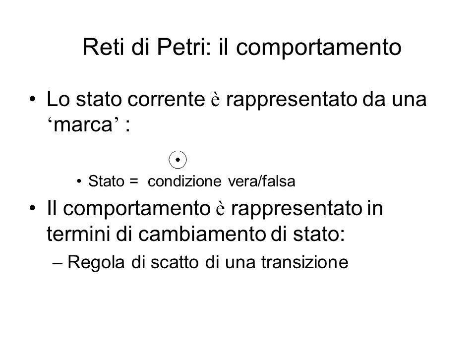 Lo stato corrente è rappresentato da una marca : Stato = condizione vera/falsa Il comportamento è rappresentato in termini di cambiamento di stato: –R