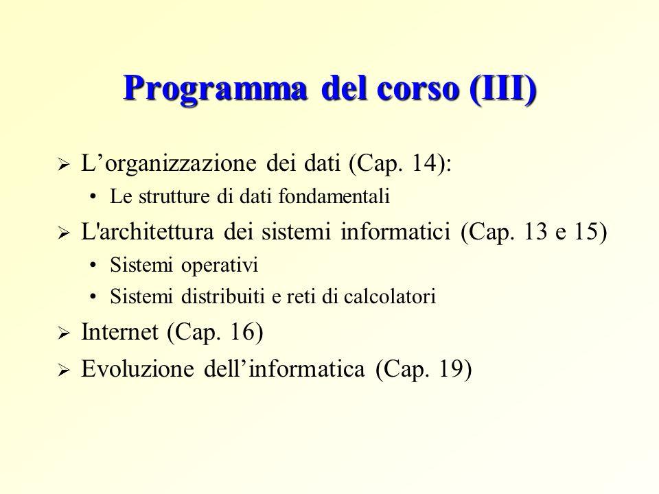 Programma del corso (III) Lorganizzazione dei dati (Cap. 14): Le strutture di dati fondamentali L'architettura dei sistemi informatici (Cap. 13 e 15)