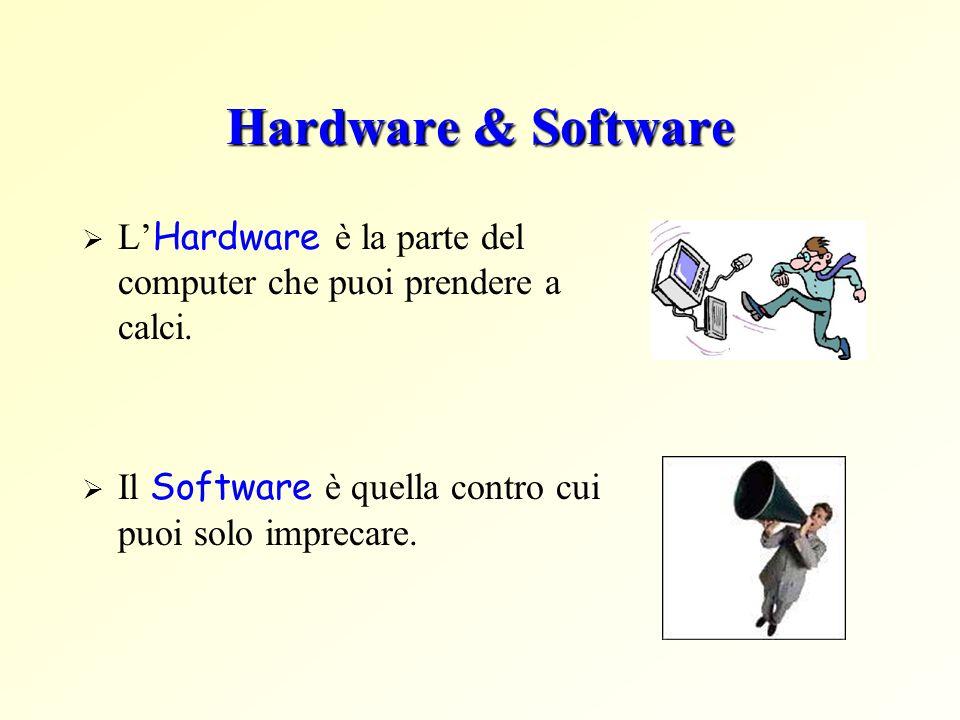 Hardware & Software L Hardware è la parte del computer che puoi prendere a calci. Il Software è quella contro cui puoi solo imprecare.